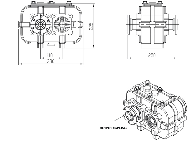 increasing gearbox, reduction gearbox, speed increaser, reducer, RPM increaser, Reducteur, Parallel-shaft gear reducer, Parallel gearbox, Katsa, speed up gearbox,