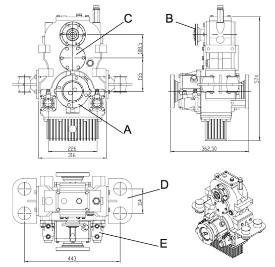 Vertical Split Shaft Unit, Vertical PTO, Vertical transfer case, Vertical gearbox, gearbox for firefight vehicles, omsi,