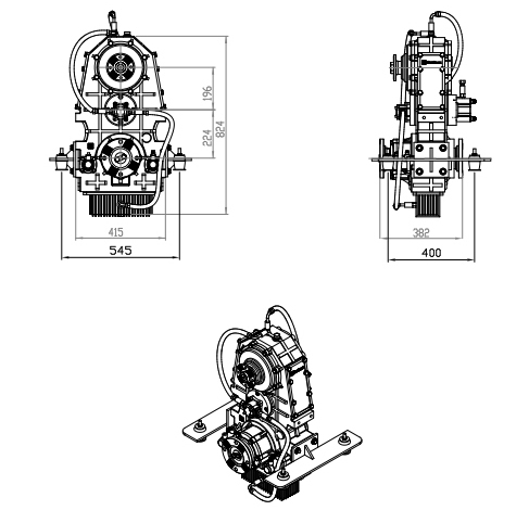 Vertical Split Shaft Unit, Vertical PTO, Vertical transfer case, Vertical gearbox, Parallel Hybrid Transmissions PHT,